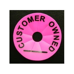 CLEARANCE - Round Collar - Customer Owned - Pk 50 - Mat'l: Hot Pink / Prt: Black