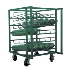 """25 Cylinder Layered C, D & E Cylinder Cart, 5"""" Casters with Brakes"""