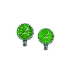 Gauge, O2, Green Face, White #'s, Bottom Port