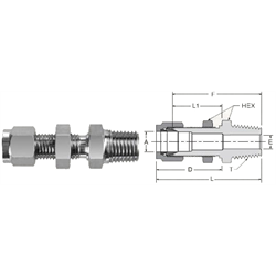 Tube Fitting Bulkhead Male NPT Connector