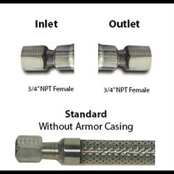 Cryogenic Hose 3/4 ID 3/4 F x 3/4 F NPT Custom Lengths