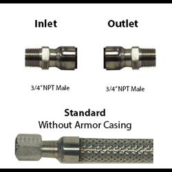 Cryogenic Hose 3/4 ID 3/4 M x 3/4 M NPT Custom Lengths